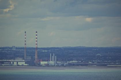 industrial, factories, chimneys, view, water, coast, Dublin, city, view, sky