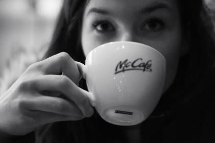 people, girl, lady, woman, drinking, coffee, mcdonald's, mccafe