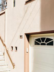 architecture, house, home, stairs, door, peach, number