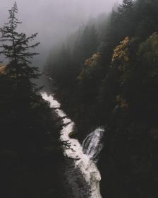 river, water, nature, tree, plant, forest, mountain, hill, landscape, rocks, fogs, cold, waterfall