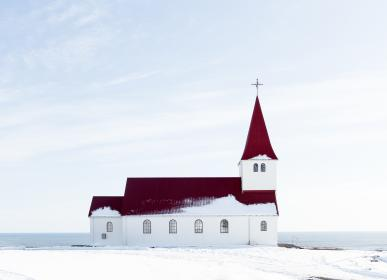 snow, winter, church, building, structure, sea, water, clouds, sky