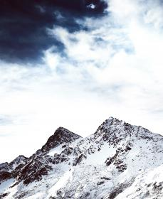 nature, landscape, mountains, slope, summit, peaks, snow, clouds, sky, white, blue, majestic