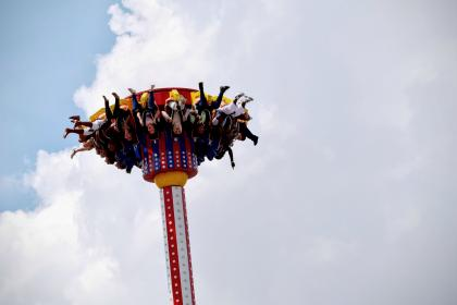 people, kids, screaming, laughing, smile, smiling, fun, amusement park, roller coaster, ride, sky, clouds