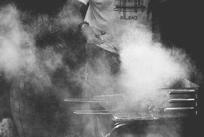 grill, smoke, people, man, cook, meat, charcoal, outdoor, food