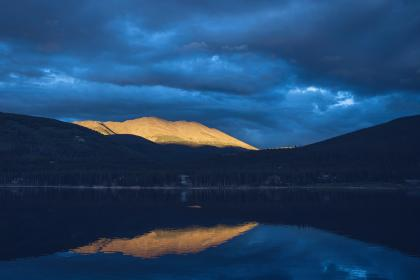 lake, water, reflection, landscape, mountains, dark, night, blue, sky, clouds, cloudy, nature, outdoors
