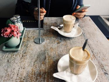 cafe, coffee, latte, table, iphone, mobile, technology, objects, drinks