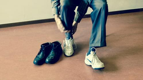 people, shoes, rubber, sport, exercise, leather, boots, black, formal, socks, floor, outfit