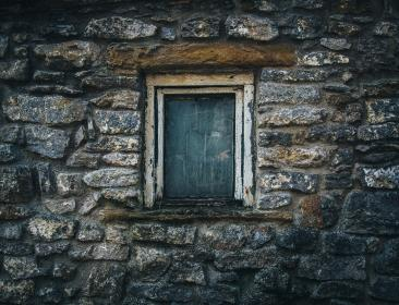 house, home, residential, rocks, stones, walls, old, decrepit, windows, still, charcoal