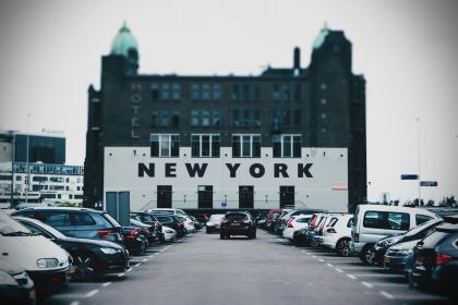 architecture, building, infrastructure, design, hotel, new york, car, vehicle, landmark, parking, lot