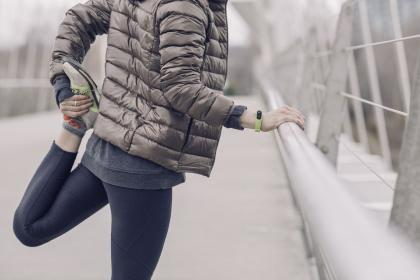 cold, weather, winter, jacket, exercise, stretching, tracker, fitness, accessories, health, lifestyle, wristband, fashion, sneakers, lace, shoe, footwear, outdoors, road, street, people, girl, female, millennials, athlete