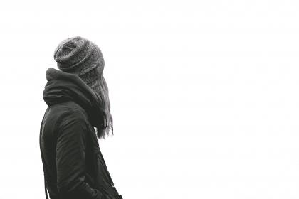 woman, girl, lady, people, back, contemplate, style, fashion, sweater, hoodie, bonnet, beanie, white, background, portrait