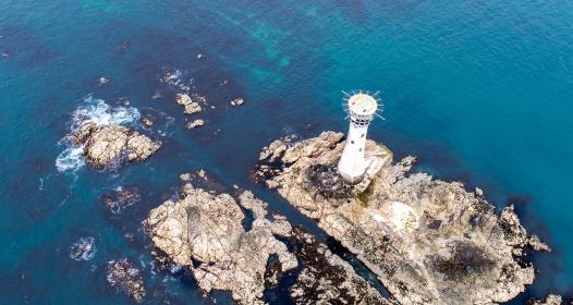 sea, ocean, blue, water, waves, nature, rocks, highland, landscape, coast, aerial, view, lighthouse