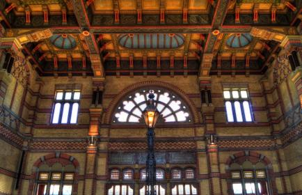 Groningen central, train station, lamp post, windows, ceiling, building, architecture
