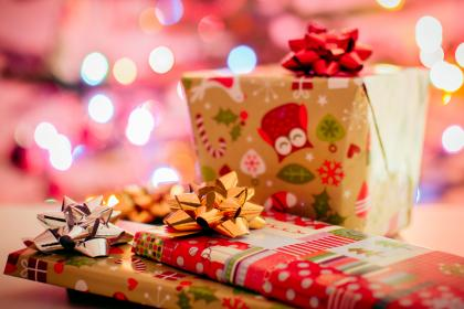 christmas, gifts, presents, wrapping, bows, festive, holidays