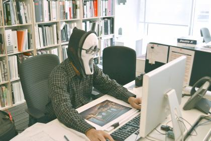 computer, keyboard, study, business, school, work, desk, table, library, office, education, people, man, mask, eyeglasses, chair, windows,  rack, shelf