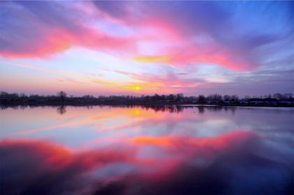 pink, sunset, dusk, sky, lake, water, reflection, clouds