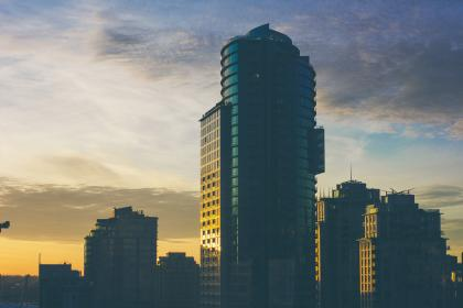 buildings, architecture, condos, skyscrapers, towers, high rises, city, urban, sky, sunset, dusk, shadows, clouds