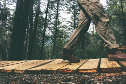 man, walking, pants, shoes, boots, wood, path, trail, trek, hike, woods, trees, forest, nature, outdoors, branches, ground