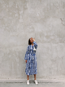 woman,  cover,  face,  hand,  stripes,  dress,  girl,  female,  people,  white,  shoes,  concrete,  wall,  minimal,  street