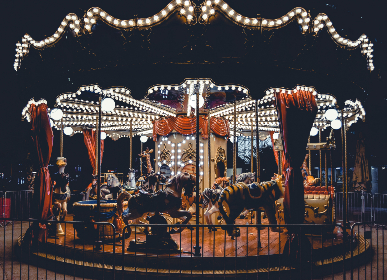 carnival,  carousel,  street food, fun, night, dark, horse, lights, neon, fair, festival