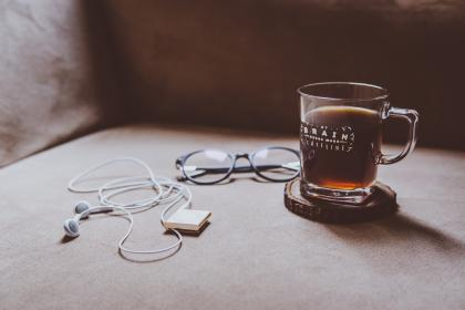 couch, chair, earphones, ipod, eyeglasses, coffee, breakfast, morning, caffeine, relax, chill