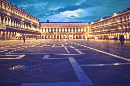 Piazza San Marco, Venice, Italy, square, people, cobblestone, lights, buildings, architecture, night, evening, sky