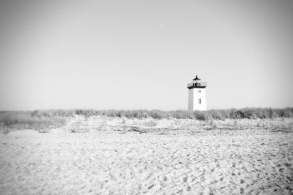 lighthouse, beach, sand, bushes, black and white