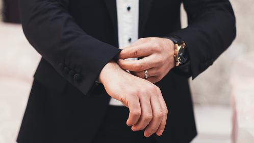 man, guy, ring, watch, groom, business, sleeves, suit, hands, bokeh, buttons, black