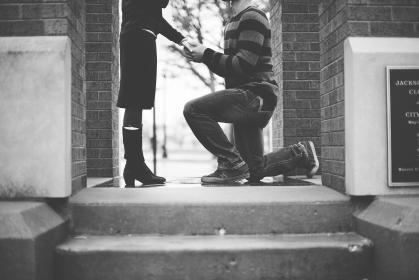 black and white, people, man, woman, couple, propose, love, holding hand