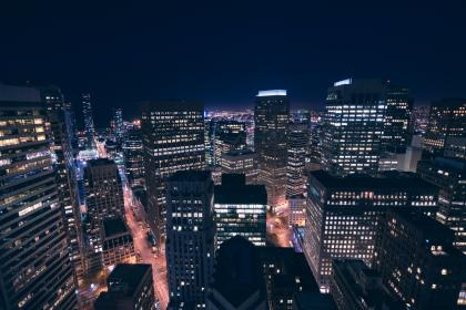 architecture, buildings, city, skyline, office, residential, high rise, skyscrapers, downtown, urban, metro, nature, water, ocean, sky, clouds, horizon, night, lights
