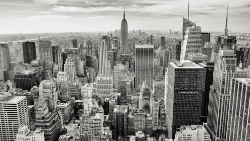 black and white, new york, city, buildings, view, skyscrapers, skyline, rooftops, clouds, towers