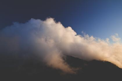 nature, mountains, summit, peaks, fog, clouds, sky, gradient, blue, white, brown, majestic