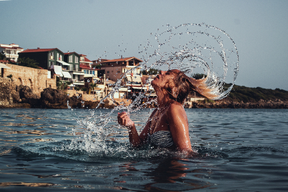 motion,   girl,   water,   young,   hair,   splash,   woman,   female,   lifestyle,   summer,   wet,   caucasian,   body,   splashing,   drop,   portrait,   model,   resort,   sea,   clean,   beach,   blue,   swimsuit , beauty, ocean, people, swimming