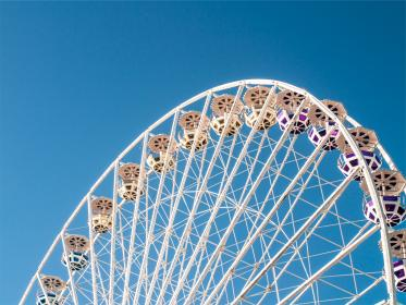 ferris wheel, blue, sky, amusement park, fair, ride, fun
