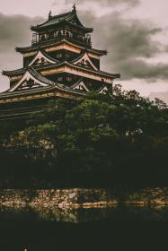 architecture, building, infrastructure, design, hiroshima castle, japan, travel, trees, plant, nature, water