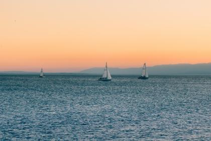 sunset, sky, sailboats, lake, water, horizon