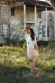 people, woman, relax, chill, dress, flowy, windy, grass, nature, house, home, architecture