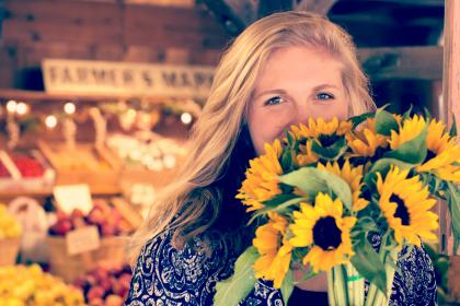 sunflower, bunch, people, girl, smile, happy, grocery, store, market, fruits