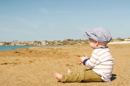 sea, ocean, water, nature, white, sand, kid, toddler, baby, boy, summer, sky, outdoor