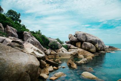 nature, landscape, rock, stone, water, ocean, sea, beach, travel, adventure, vacation, clouds, sky, green, trees, blue