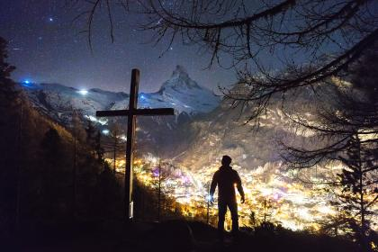 mountain, highland, cloud, sky, summit, ridge, landscape, nature, valley, view, buildings,  lights, city, people, man, travel, alone, trees, silhouette, cross