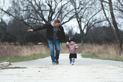man,  child,  running,  family,  people,  baby,  tree,  forest,  path,  road,  fun,  happy