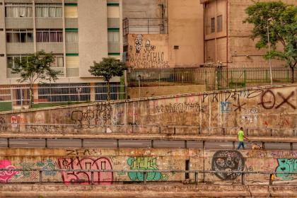 streets, walls, art, graffiti, colors, people, man, walking, dog