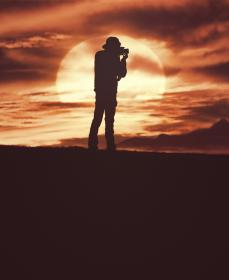 people, man, back, camera, recording, picture, moon, night, view, outdoor, adventure, clouds, sky, land, dark, mountain