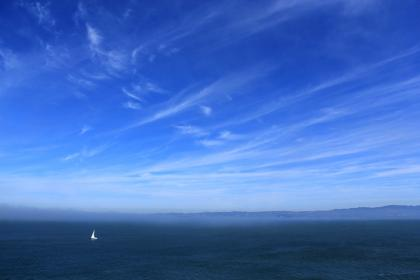 blue, sky, clouds, sailboat, ocean, sea, landscape, nature