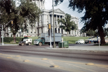 street,  cars,  jeep,  truck,  vintage,  traffic,  light,  building,  road,  trees,  old,  film,  photography,  town,  city, retro