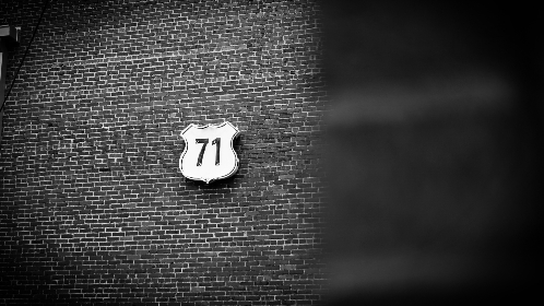 black and white,  brick, sign, 71, texture, shadow, car, transport, badge, typography, design