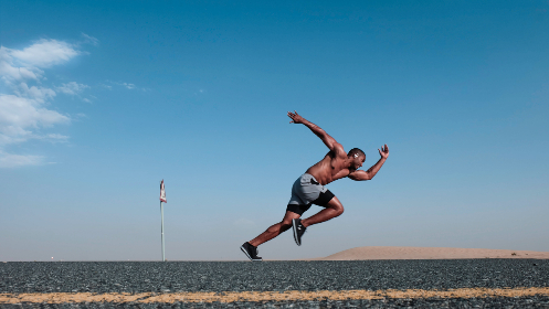 man,  running,  road,  fast,  speed,  black,  concrete,  yellow,  line,  health,  run,  fitness,  sand,  desert