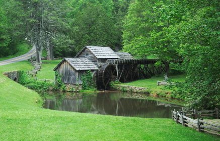 mill,   mountain,   green,   grass,   nature ,  peace,   lake,   water,   trees,   travel,   nature,   calm,   water wheel,   serene,   fence,   god