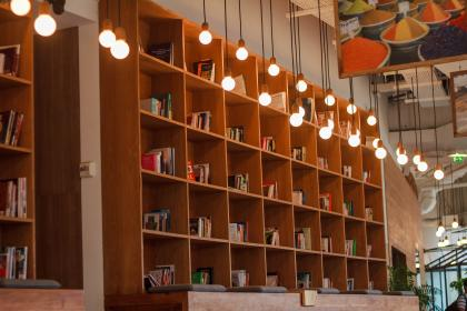 light, bulb, book, library, education, school, knowledge, table, inside